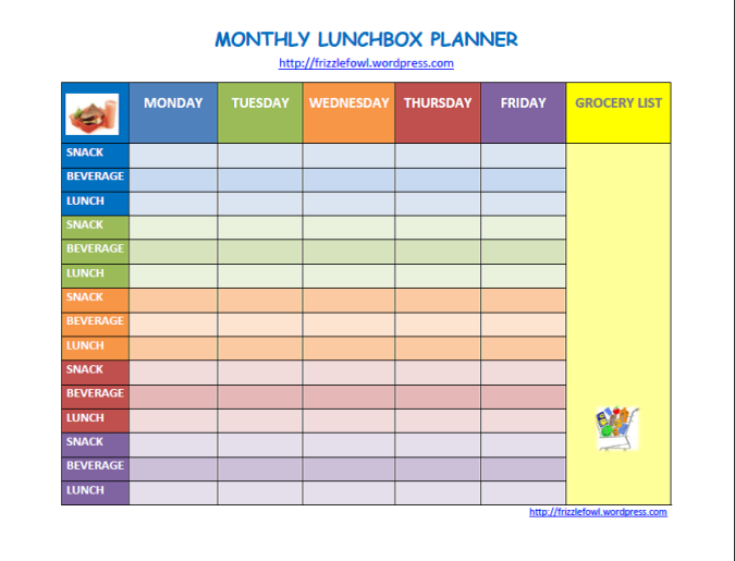 lunch box timetable.pic